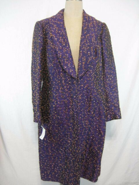Vintage 90s Michael Casey Couture Evening Coat Size M Purple Copper Metallic