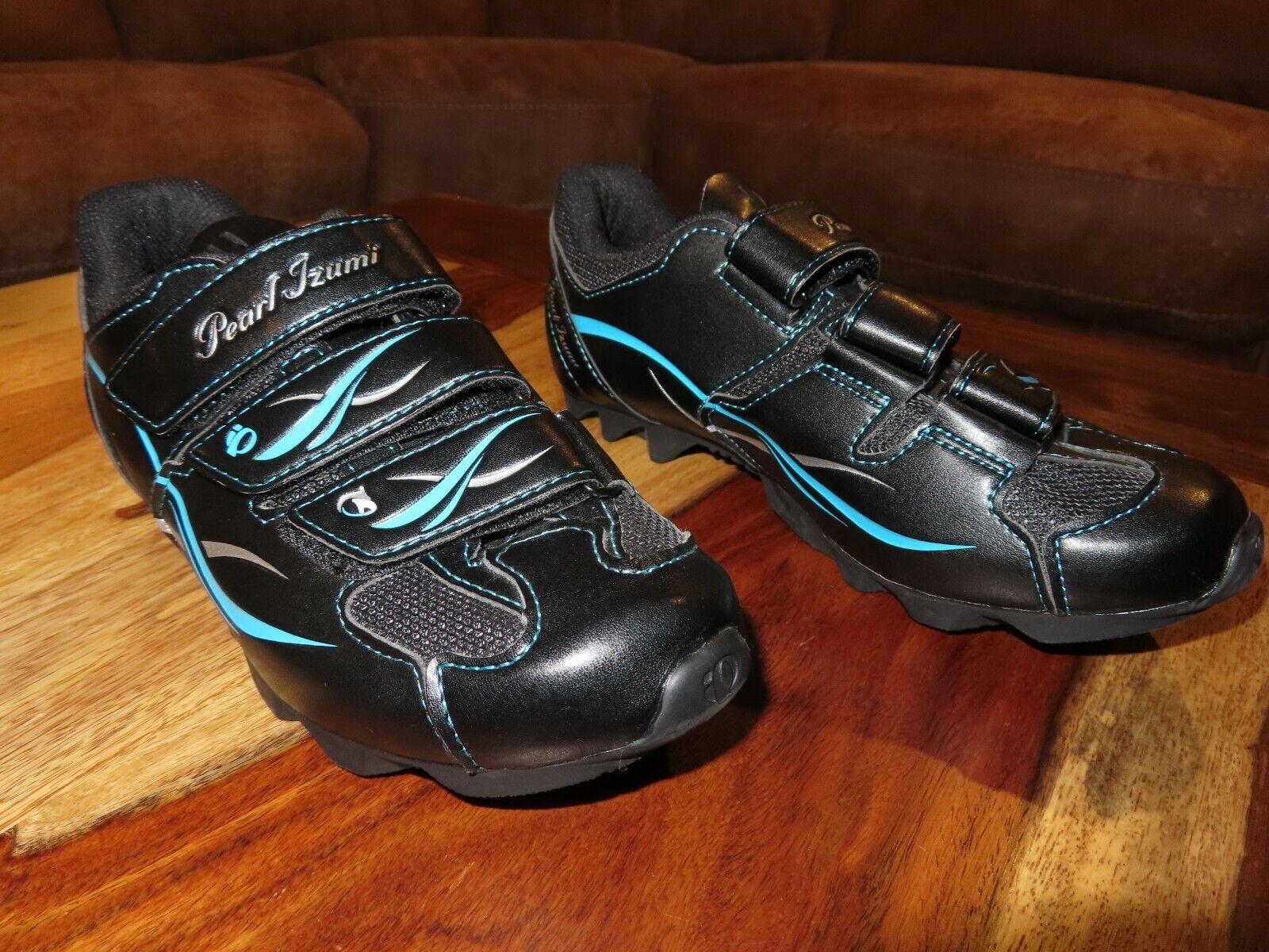 NEW Pearl Izumi Size 37 (7 U.S)W All-Road II Black & bluee Mountain Cycling shoes