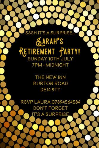 Personalised Classic Gold Surprise Retirement Party Invites inc Envelope SR11