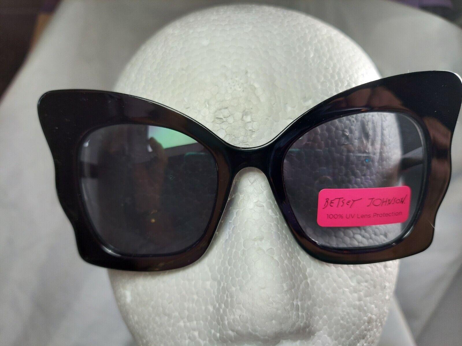NWT Betsey Johnson Oversized Black Butterfly Horned Sunglasses