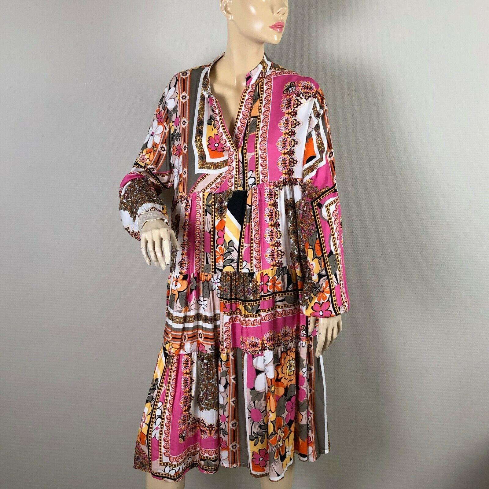 Elbflorenz weiß Rosa mehrfarbig Maxi-Kleid Mustermix Tunika Hängerchen One Größe