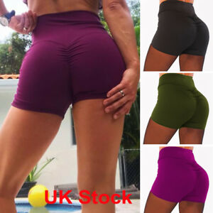 8a98e65d16 Womens Gym Yoga Shorts Sports Fitness Stretch High Waist Hot Pants ...