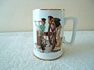Vintage-1985-Norman-Rockwell-034-River-Pilot-034-Porcelain-24-K-Trimmed-Mug-Cup