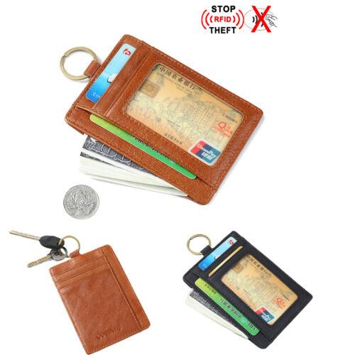 Men Leather Blocking  Wallet RFID Money Clip ID Credit Card Holder//Key Ring