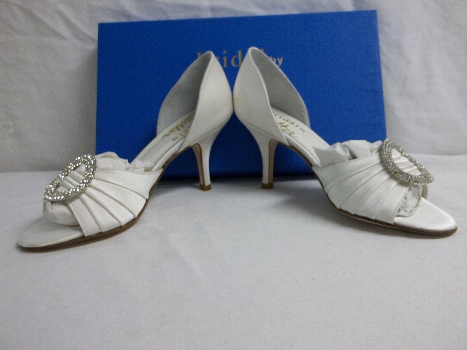 Bridal By Butter Größe 5 M M 5 Weiß Satin Open Toes Pumps Heels New Damenschuhe Schuhes 9080e5
