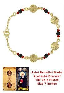 "18k Gold Plated St Benedict Bracelet Simulated Azabache Evil Eye Protection 7"""