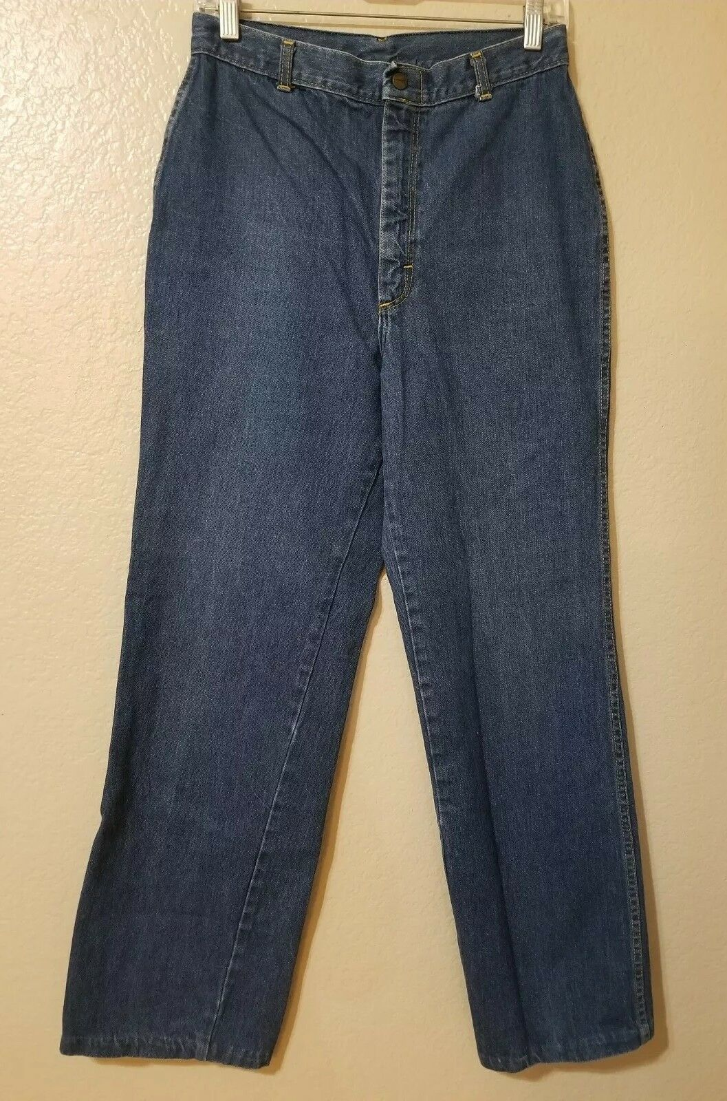 70s Women's pinkrio Jeans Size 14 High Rise Waist Wide Leg Vintage Embroidered