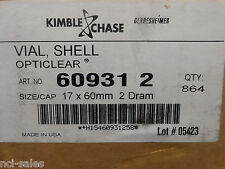 1 Box Of 864 Kimble Vials Shell Opticlear 60931 2 Sizecap 17 X 60mm 2 Dram