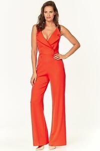675027eaaaa54b Das Bild wird geladen Think-Believe-Tuta-Jumpsuit-Damen-rot -elegant-tailliert-