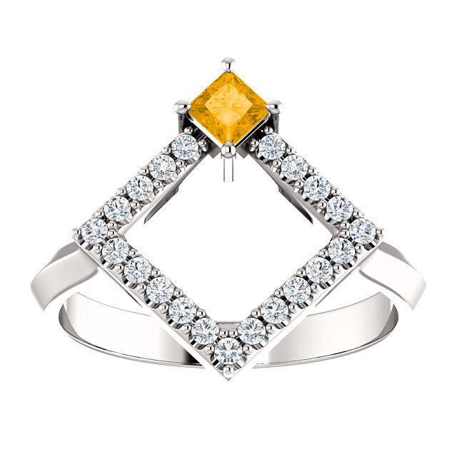 Principessa Citrino & 1 5 Ctw Diamante Geometrico Geometrico Geometrico Anello in argentoo Sterling 27d526