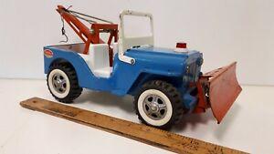 1960-039-s-JEEP-CJ-w-Plow-and-Tow-Boom-TONKA-Very-Nice-Original-Condition