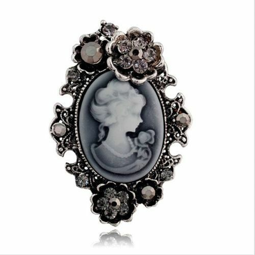 Antique Bronze Grey Vintage Flower Victorian Queen Wedding Portrait Brooch Pin
