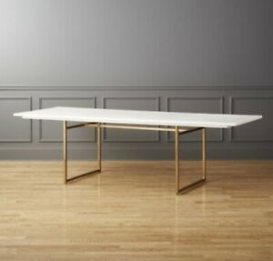 Peachy Details About Cb2 White Wood Carmen Dining Table Caraccident5 Cool Chair Designs And Ideas Caraccident5Info