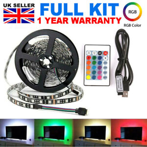 100CM-500CM-USB-POWERED-LED-STRIP-LIGHTS-TV-RGB-COLOUR-CHANGING-24-Key-REMOTE