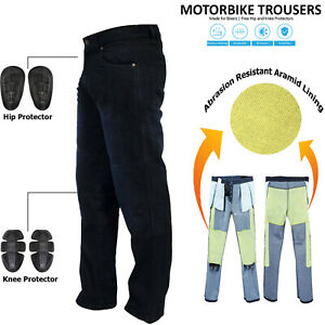 Mens-Black-Motorcycle-Motorbike-Jeans-Trousers-With-Aramid-Protective-Lining-New