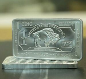 ZINC Buffalo 1 Oz .999 Fine Zinc Bullion Bar 1 Ounce