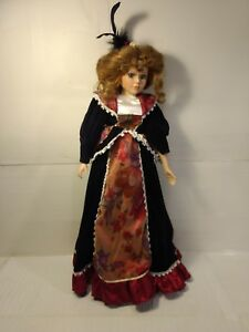 Victorian-Style-Girl-In-Black-Dress-21-034-Porcelain-Doll-With-Stand-ds1413
