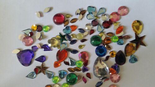 CraftbuddyUS100pc Mixed Hearts//Stars Rhinestone Gem Shape Toppers StickOn w//Glue