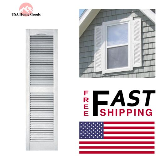 x 55 in Window Nominal Edge White Louvered Vinyl Exterior Shutters Pair 15 in