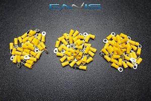 10-12 GAUGE NYLON RING # 8 YELLOW 100 PK CRIMP TERMINAL AWG GA CONNECTOR CAR