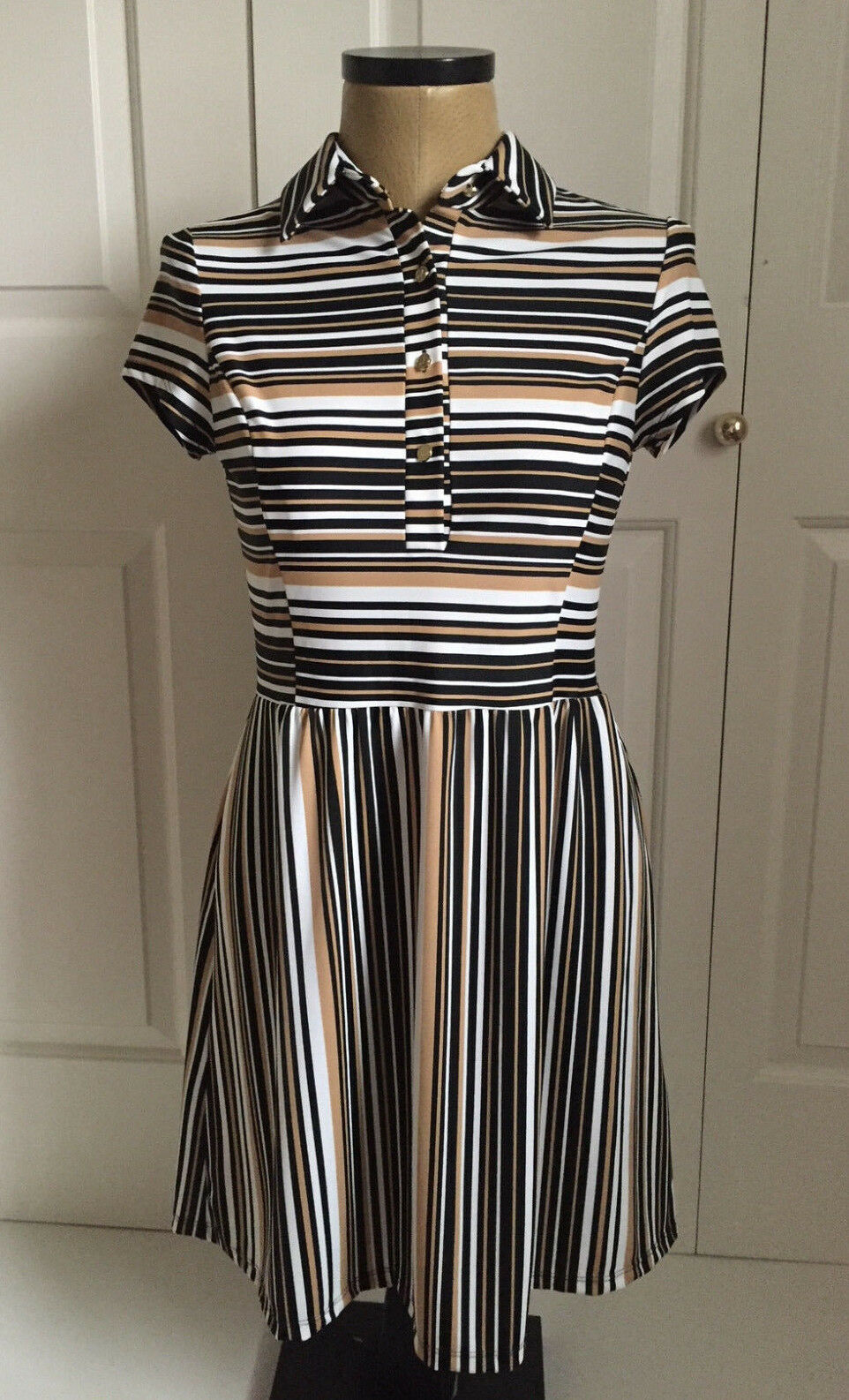 JUDE CONNALLY MILA NEUTRAL STRIPE FORMAL BUSINESS DRESS S