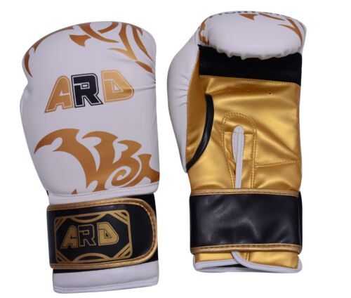 ARD® Art Leather Boxing Gloves Fight Punching MMA Muay Thai Kickboxing Whit-Gold