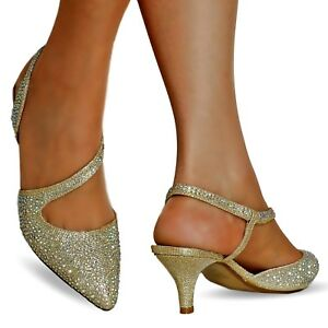 Details about NEW Ladies Diamante Party Evening Low Kitten Heel Court Shoe Size 007
