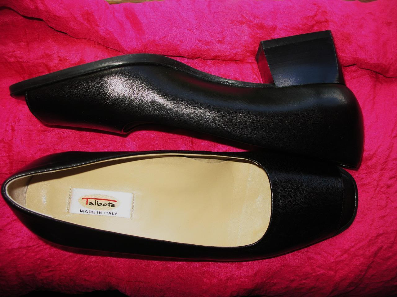 TALBOTS chaussures Cuir noir Bout Ouvert Mocassins  Taille 7 M 37  Made in