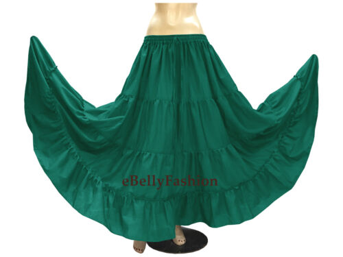 Olive Cotton 4 Tier 6 Yard Skirt Maxi Belly Dance Gypsy Flamenco Tribal Jupe
