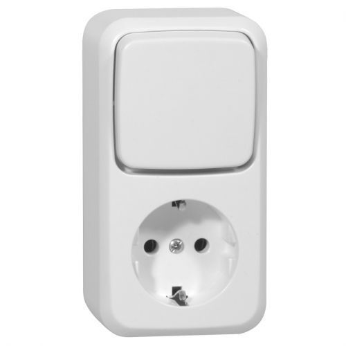 Pure White Surface Mount Combination//AC Switch//Socket