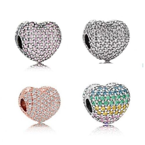 Fashion 5 Couleurs Micro Pave Zircone cubique Charme Beads Fit European Bracelet Gourmette Collier