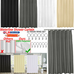 Waterproof Bathroom Liners Shower Curtain PEVA Modern Curtain w//12 Hooks Set