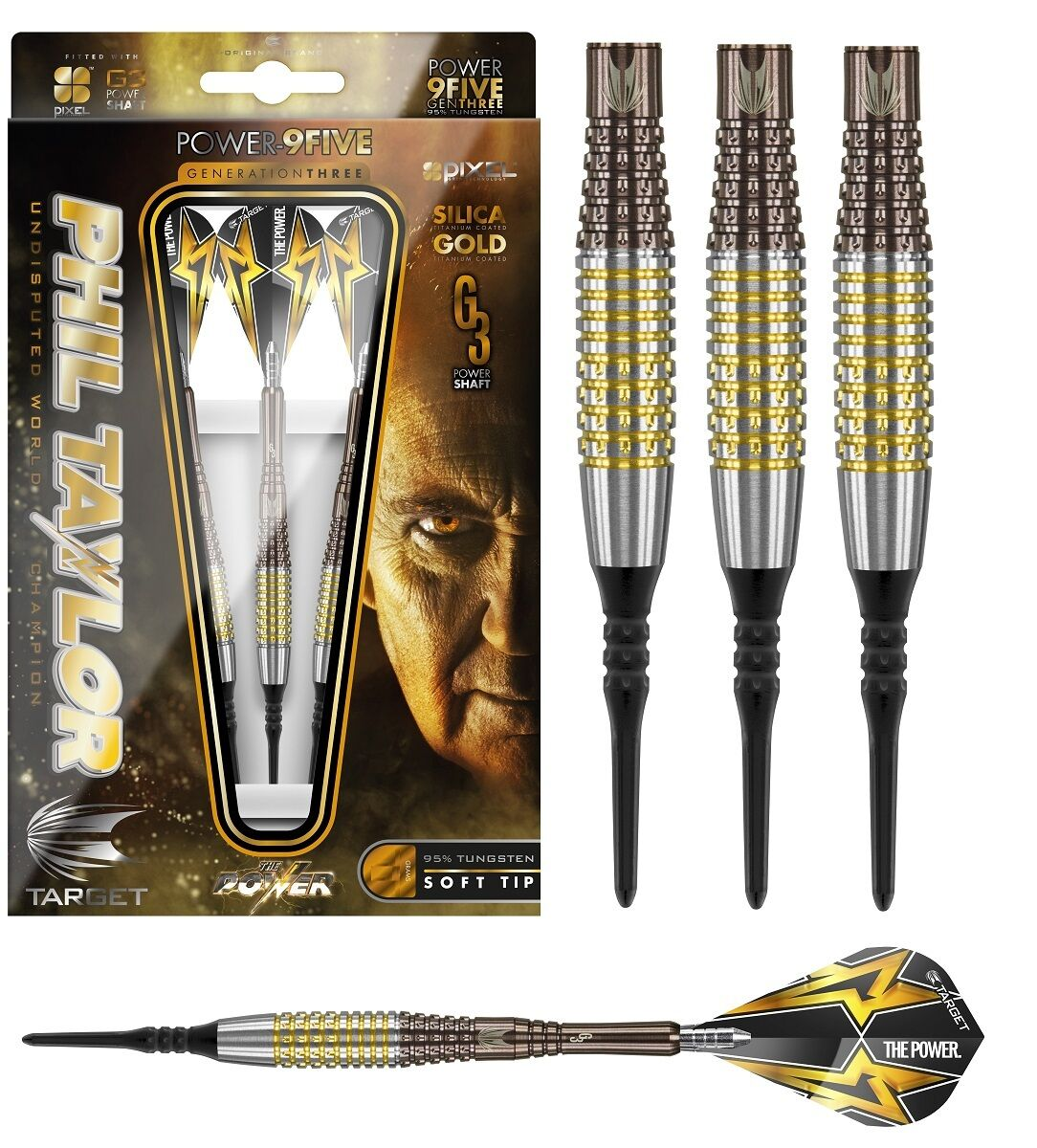 Phil Taylor Power Generation 3 9Five 95% Tungsten Soft Tip Darts by Target - G3
