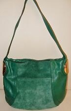B.Makowsky Giamma Leather & Suede Hobo Bag with Hinge Hardware in Emerald Green