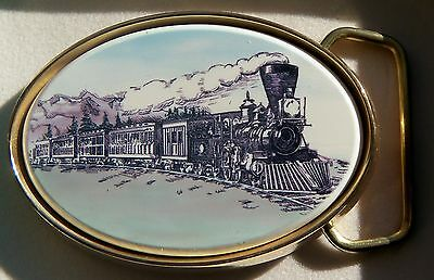 Belt Buckle Barlow Scrimshaw Carved Painted Train Traditional Locomotive 590414