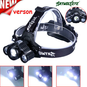 3X-T6LED-Headlight-90000LM-Headlamp-Rechargeable-Light-Flashlight-HeadTorch-Top
