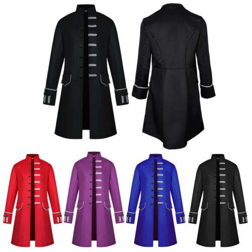 Single-breasted Retro Uniform Costume Coat Men Steampunk Tailcoat Gothic Jacket