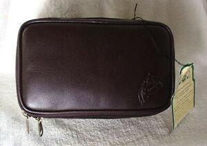 DOPP-JUNIOR-MINI-FLAT-Style-Brown-Leather-Travel-Kit-Shaving-Case-NEW-NWT