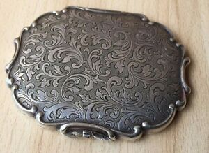 Antique Collectible Metal Richly Ornamented Hand Engraved Powder Box 1944 WWII