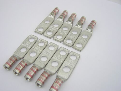 "pkg 10 W//Peep 1//4/""Bolt PANDUIT LCD8-14A-L #8 Awg Lug 2Hole 5//8/""Space Red"