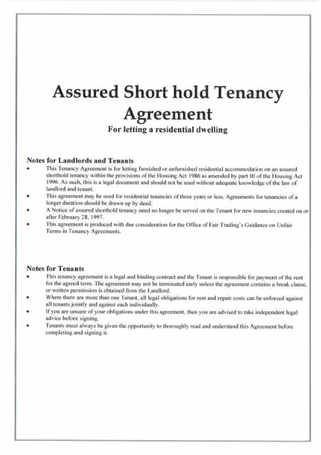 Landlord Assured Shorthold Tenancy Agreements 2 Copies 201819