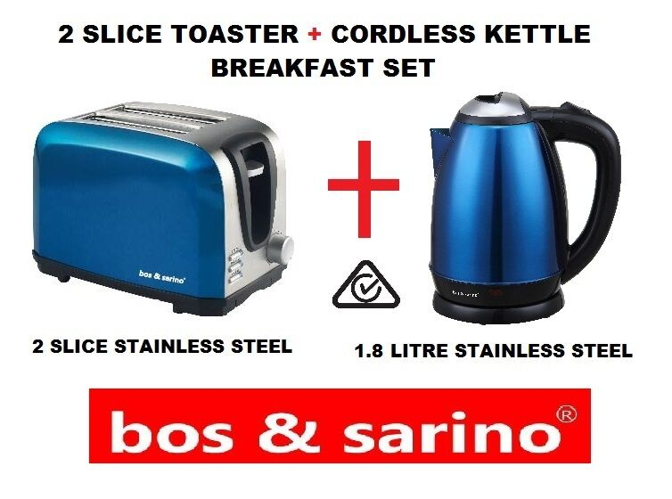 BOS & SARINO 2 Slice Glossy blueE & 2L Cordless Kettle Stainless Steel Dual Set