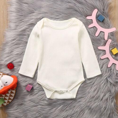 Newborn Infant Baby Girls Boys Long Sleeve Solid Romper Soft Bodysuit Clothes US