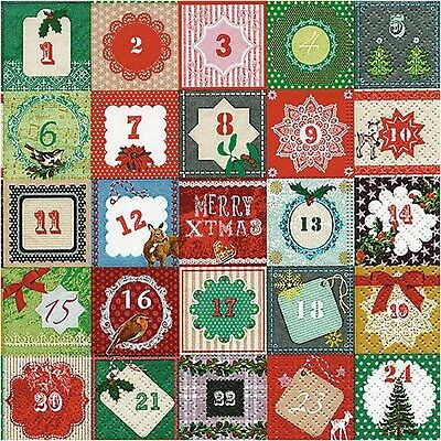 4 Advent Calendar Single Luxury Paper Napkins for Decoupage Christmas Projects