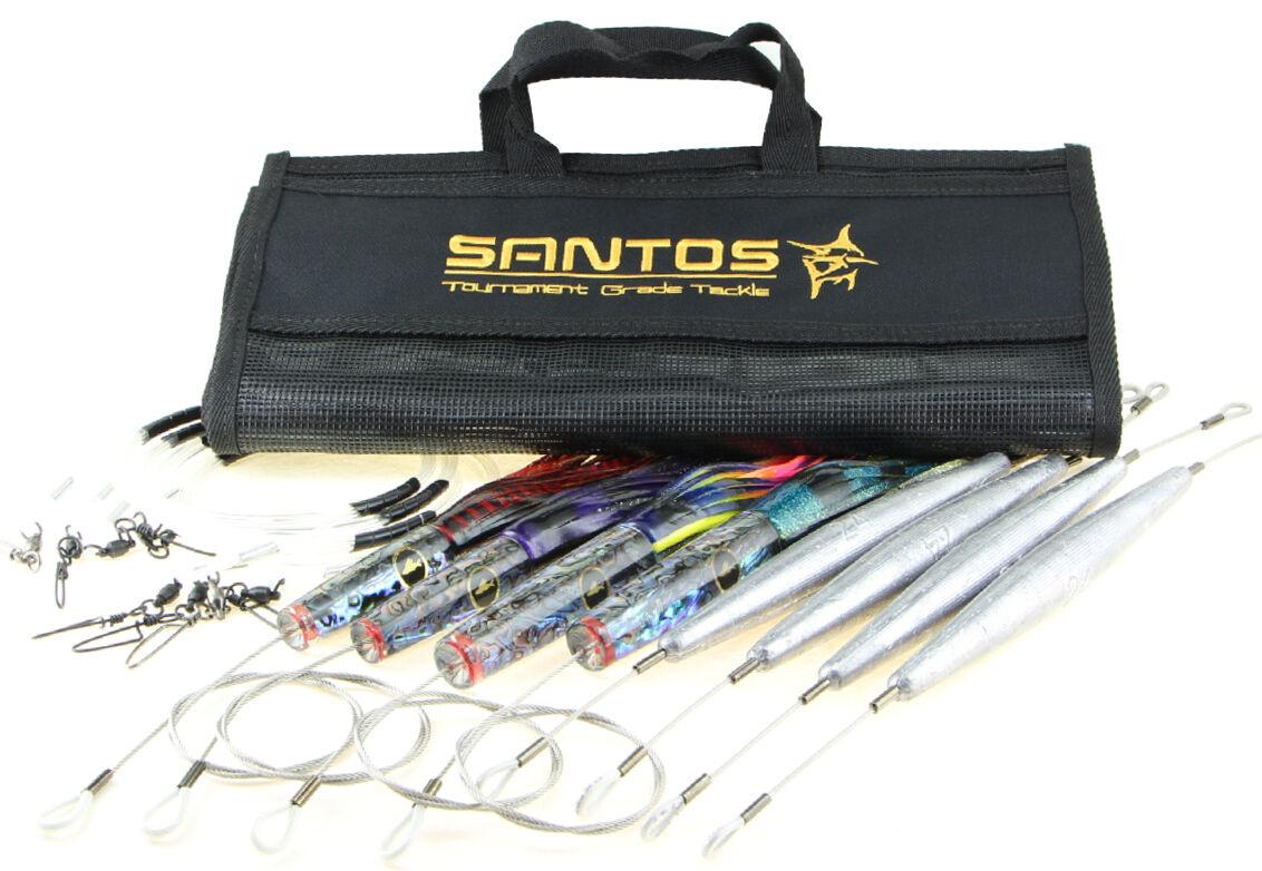 Santos Wahoo Big Game Señuelo Currican Pack-rugoso - (Luz abordar 30-50 Lb)
