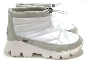 de212ececa8 Details about UGG Women's Centara Waterproof Nylon and Suede Quilted White  Booties Size 7