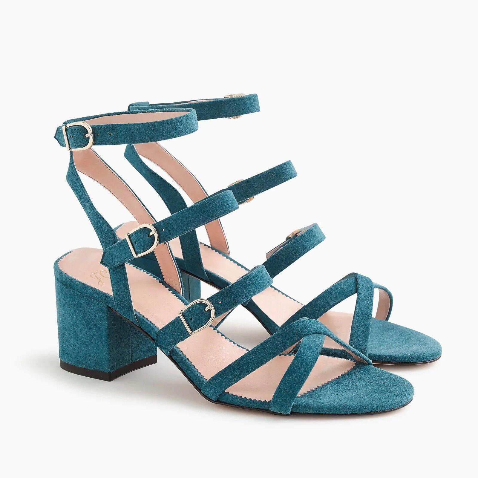 NIB J. Crew Women's Buckled Midheel Sandals in Suede - Deep Twilight - Size 6.5
