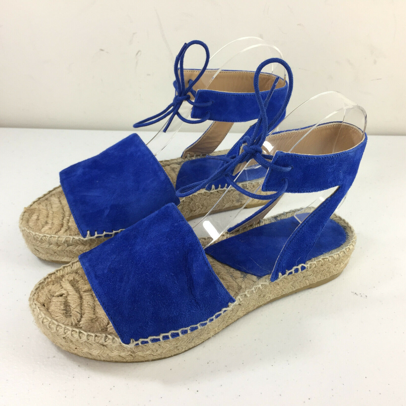 Andre Assous Vibrant bluee Espadrille Sandals Anthropologie 38 7.5 8 Ankle strap