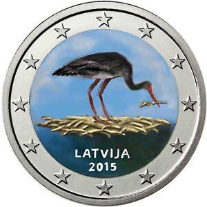 Lettland-2-Euro-2015-Schwarzstorch-Schutzprogramm-Gedenkmuenze-in-Farbe