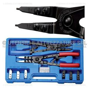 PDR*SET 4 PINZE CIRCOLARI ANELLI ELASTICI INTERNI ESTERNI 180mm DRITTE E ANG.90°